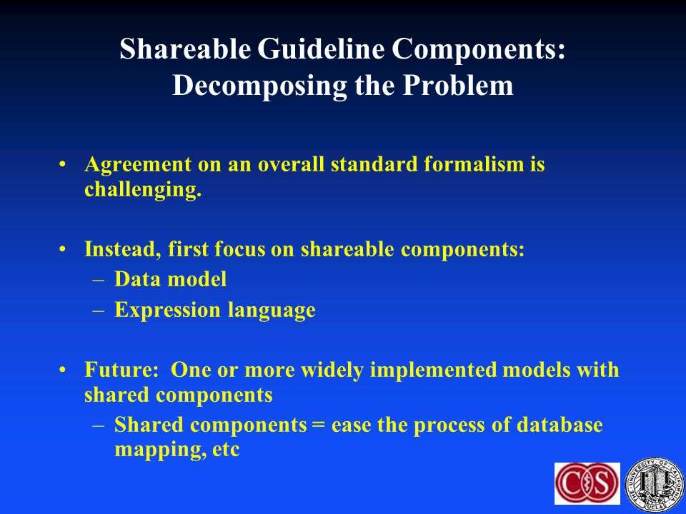 Shareable Guideline Components: Decomposing the Problem