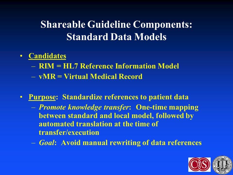 Shareable Guideline Components: Standard Data Models