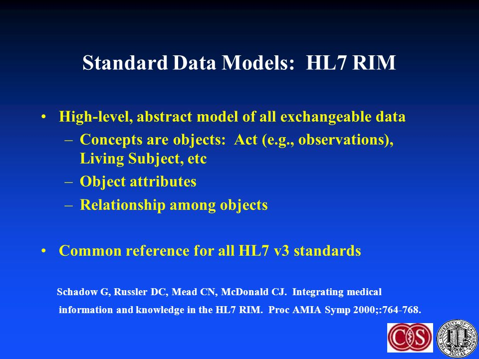 Standard Data Models: HL7 RIM