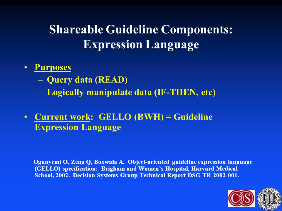 Shareable Guideline Components: Expression Language