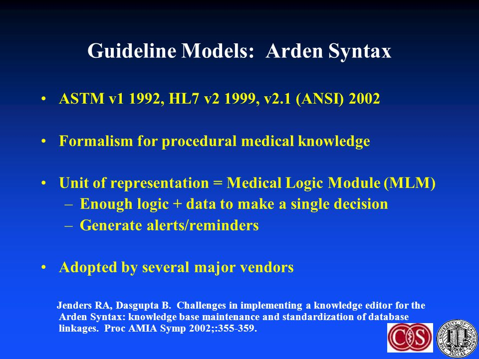 Guideline Models: Arden Syntax