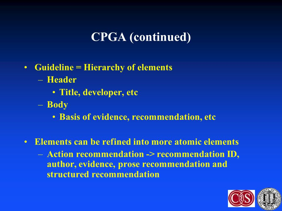 CPGA (continued) Guideline = Hierarchy of elements Header