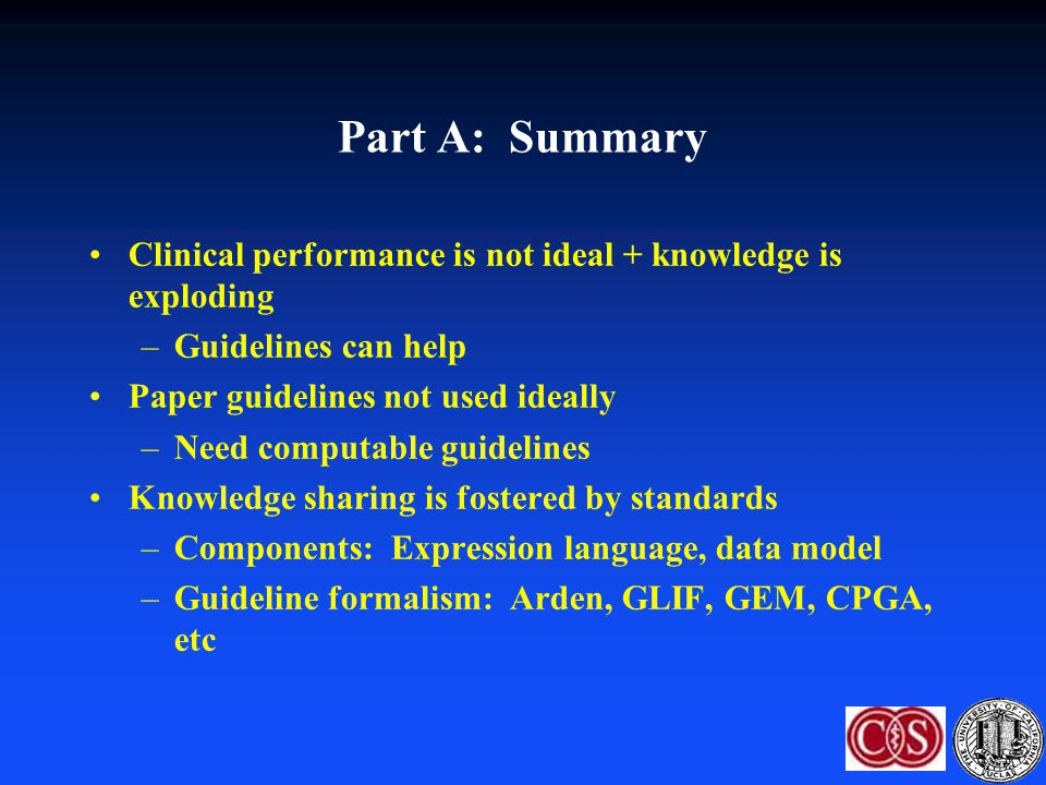 Part A: Summary Clinical performance is not ideal + knowledge is exploding. Guidelines can help. Paper guidelines not used ideally.