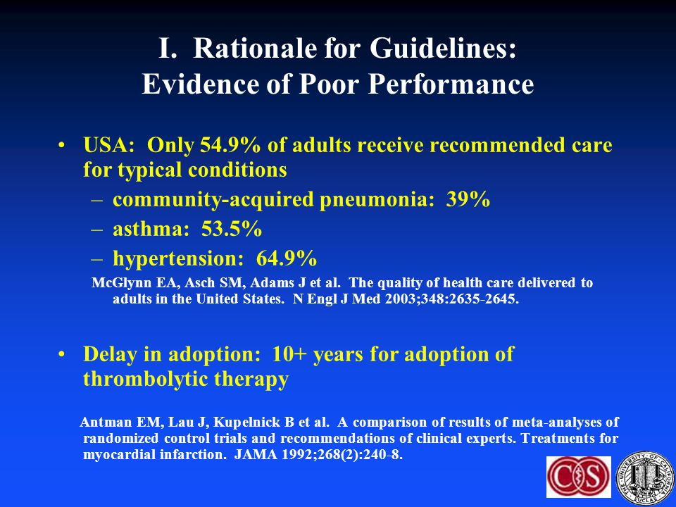 I. Rationale for Guidelines: Evidence of Poor Performance