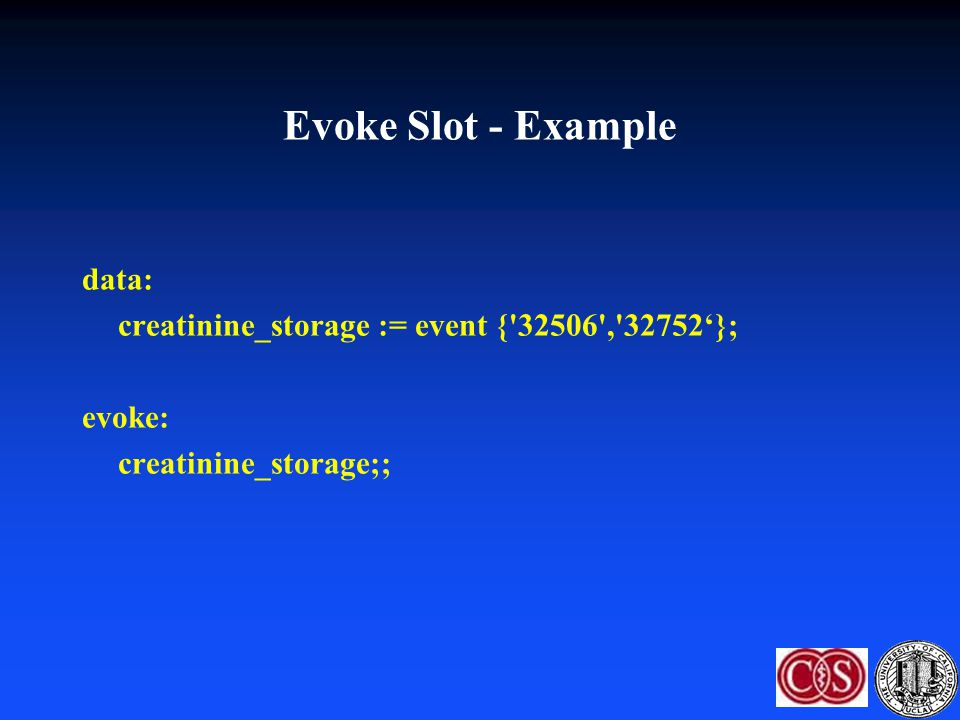 Evoke Slot - Example data: