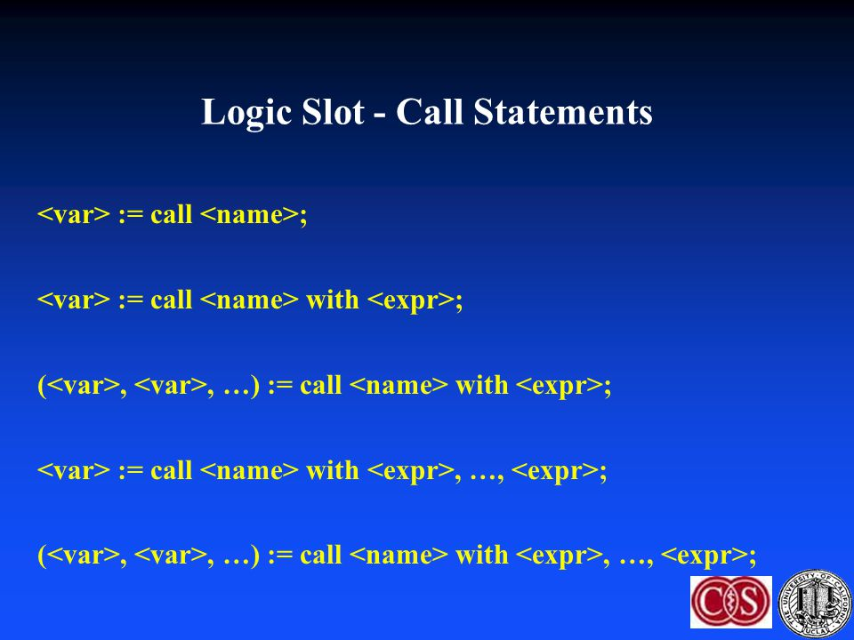 Logic Slot - Call Statements