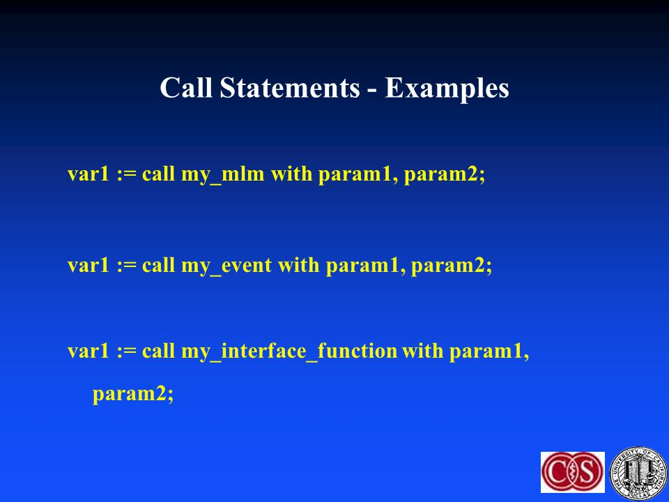 Call Statements - Examples