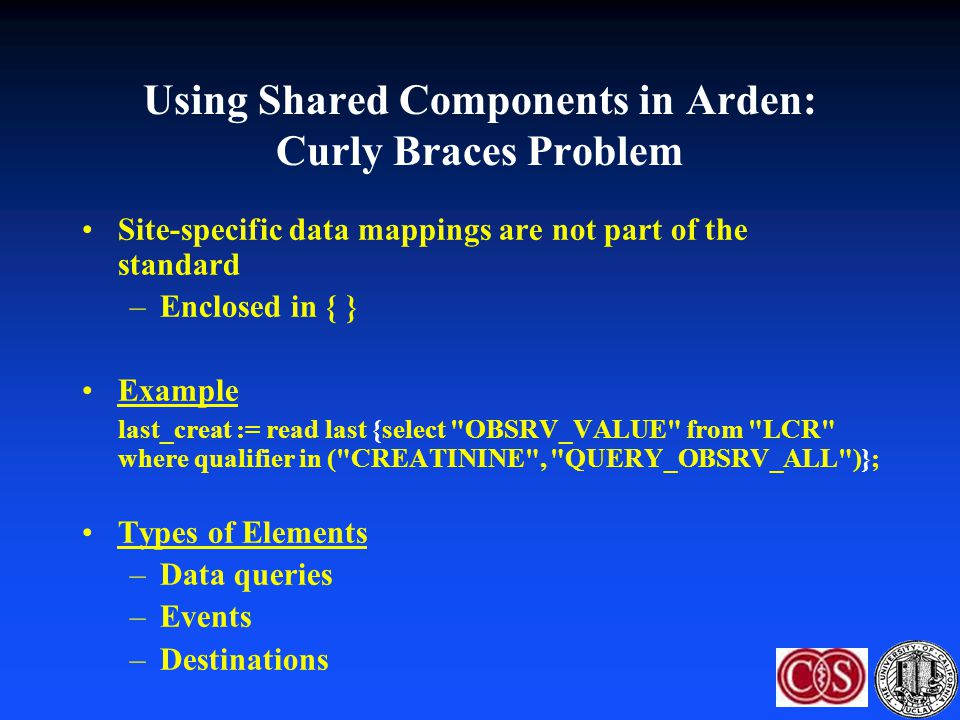 Using Shared Components in Arden: Curly Braces Problem