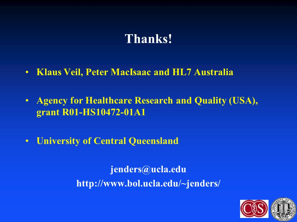 Thanks! Klaus Veil, Peter MacIsaac and HL7 Australia