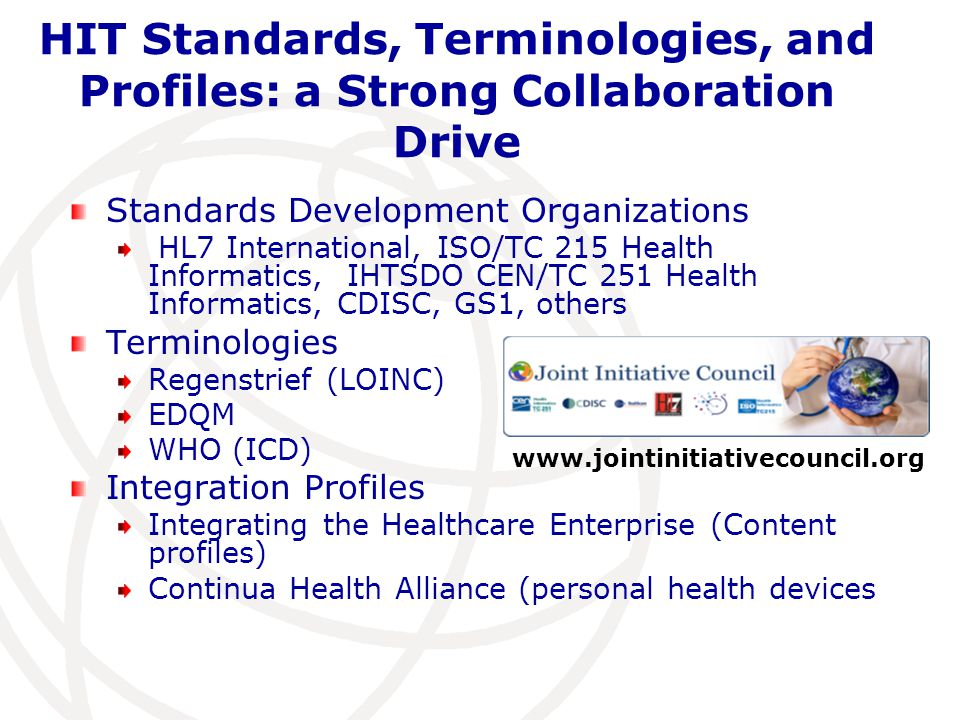HIT Standards, Terminologies, and Profiles: a Strong Collaboration Drive
