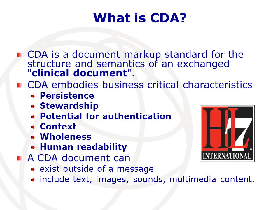 What is CDA CDA is a document markup standard for the structure and semantics of an exchanged clinical document .