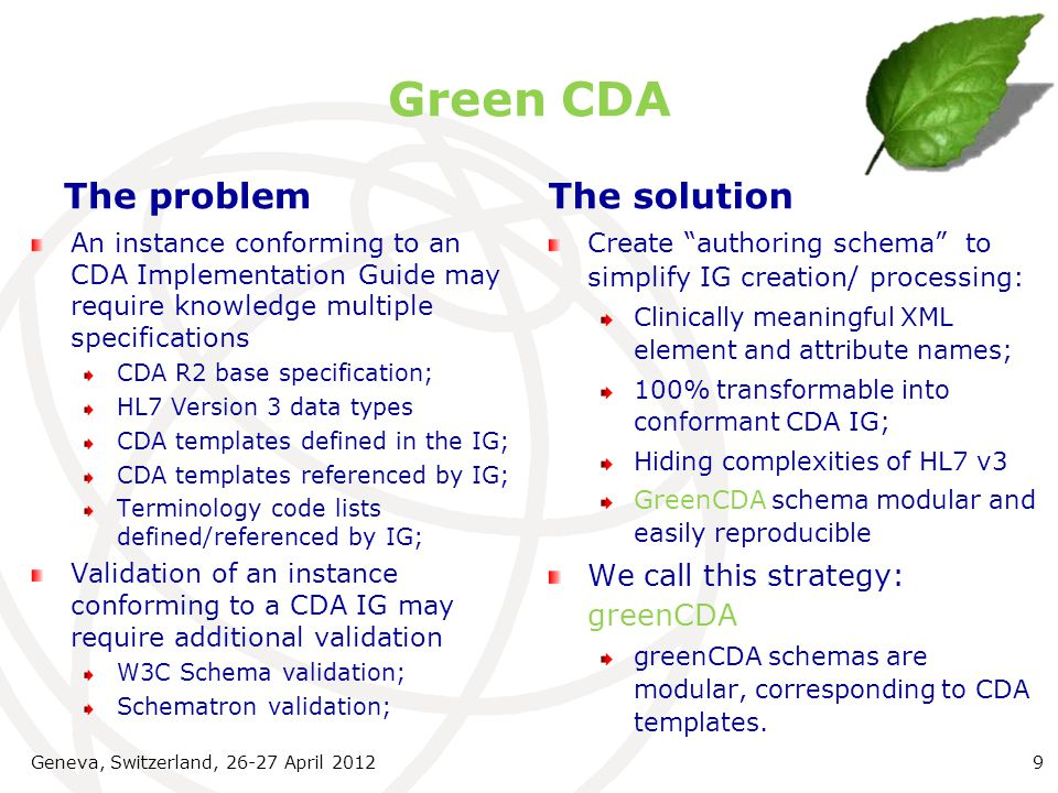 Green CDA The problem The solution We call this strategy: greenCDA