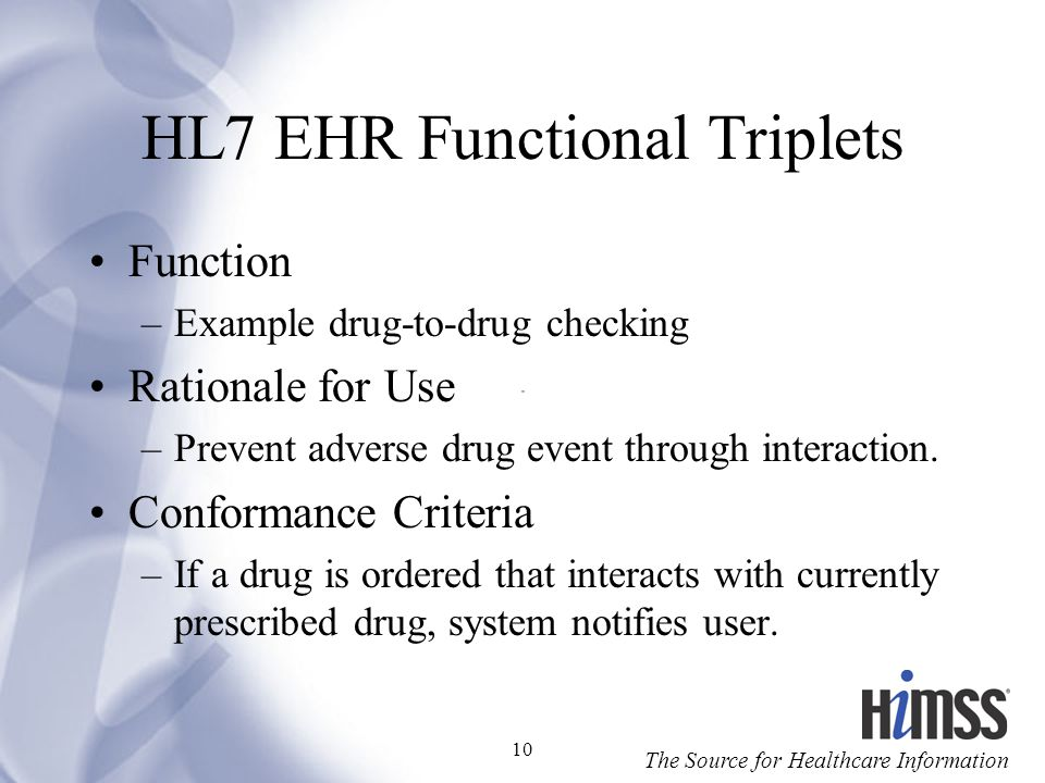 HL7 EHR Functional Triplets
