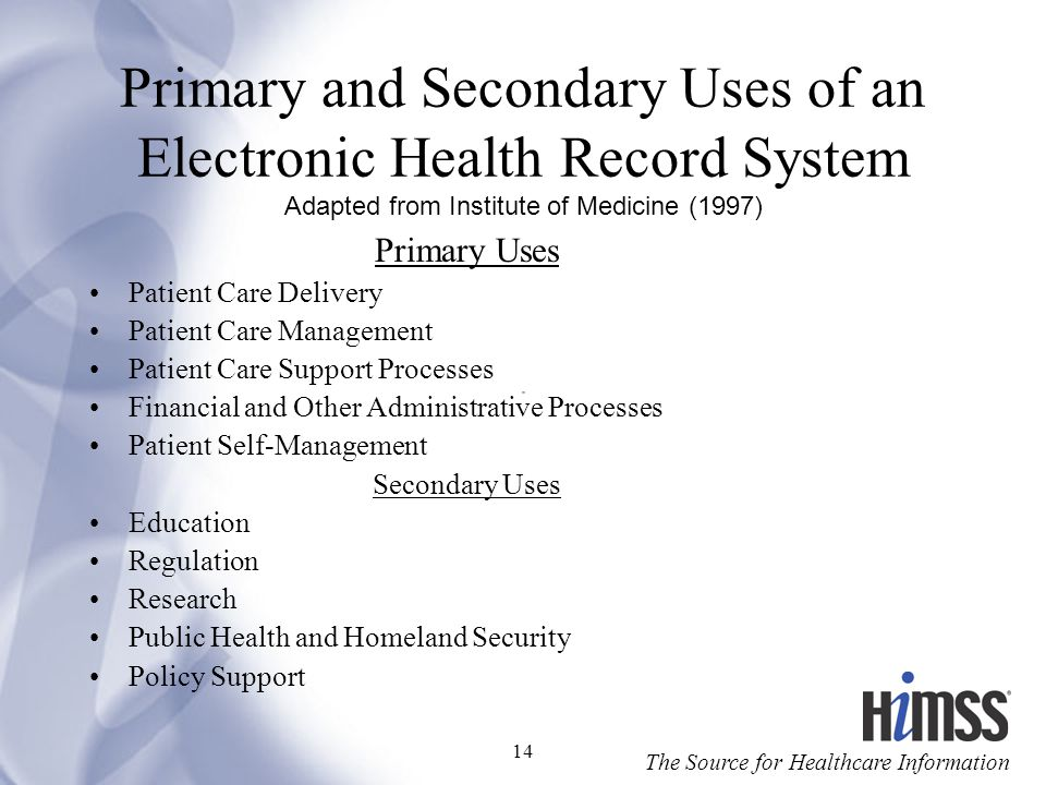 Primary and Secondary Uses of an Electronic Health Record System Adapted from Institute of Medicine (1997)