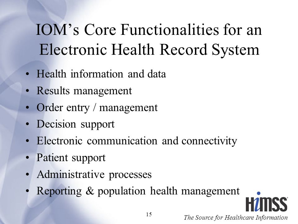 IOM's Core Functionalities for an Electronic Health Record System