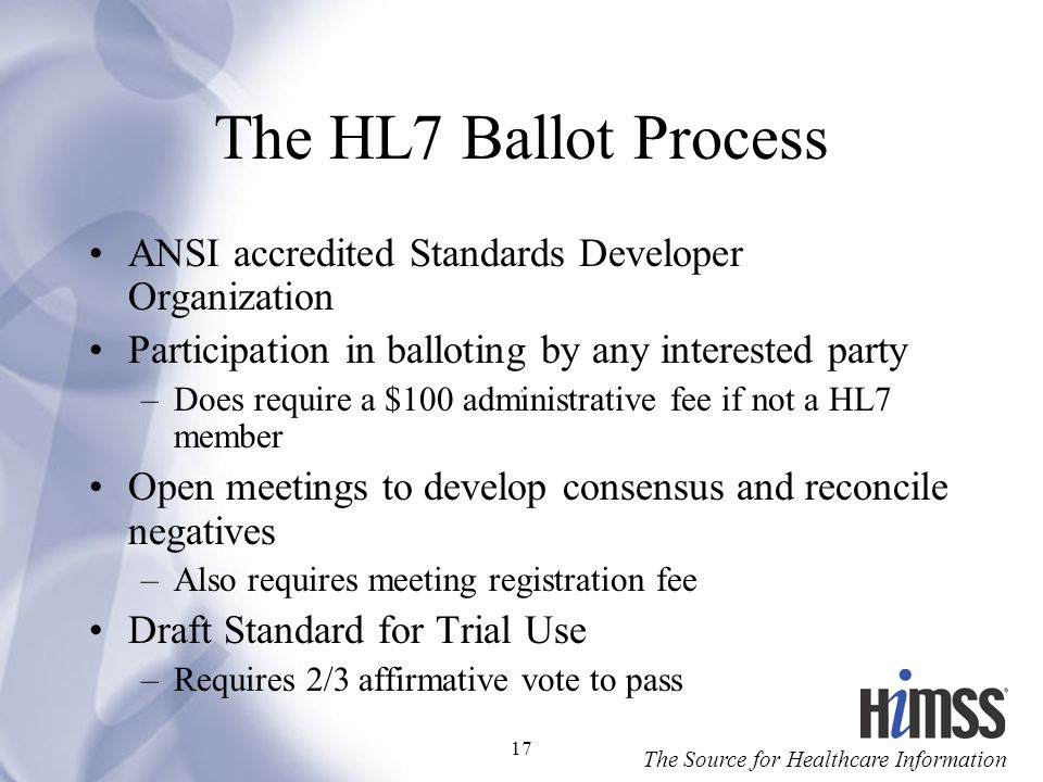 The HL7 Ballot Process ANSI accredited Standards Developer Organization. Participation in balloting by any interested party.