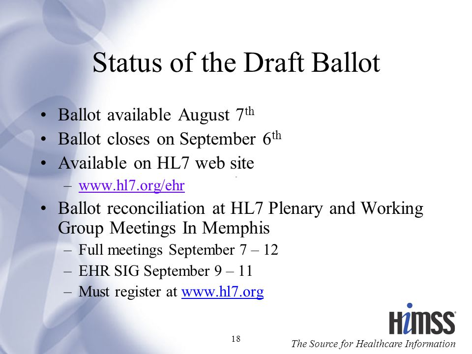 Status of the Draft Ballot