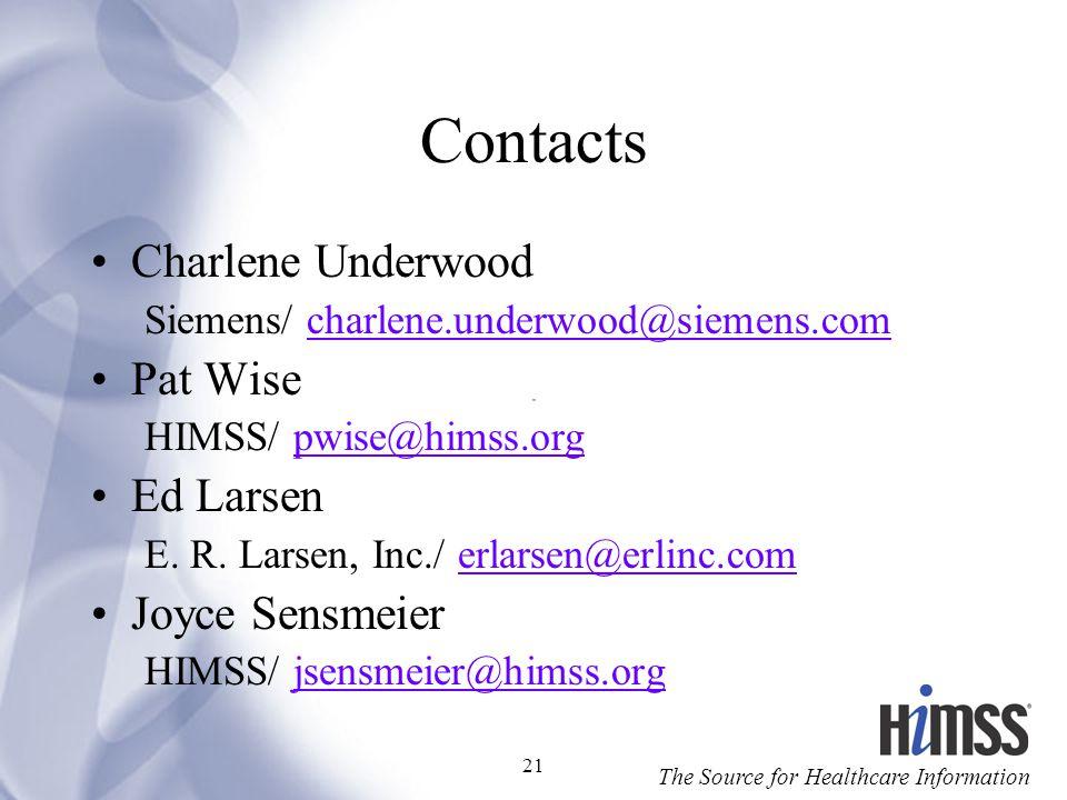 Contacts Charlene Underwood Pat Wise Ed Larsen Joyce Sensmeier