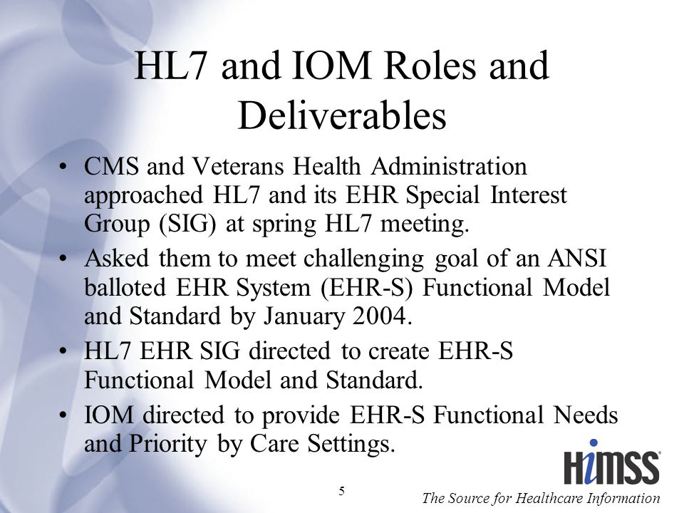 HL7 and IOM Roles and Deliverables