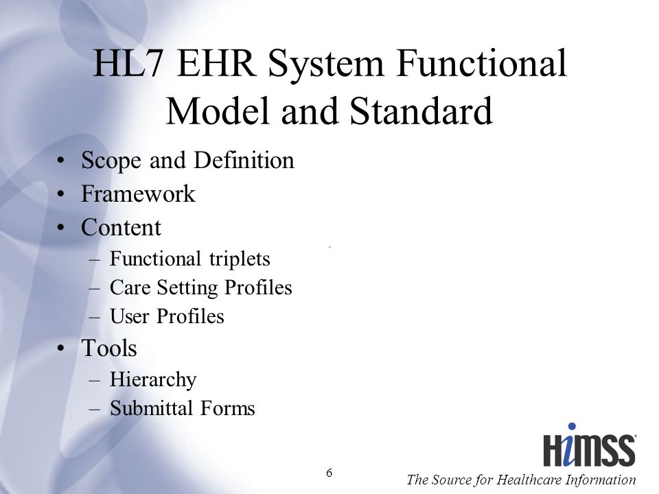 HL7 EHR System Functional Model and Standard