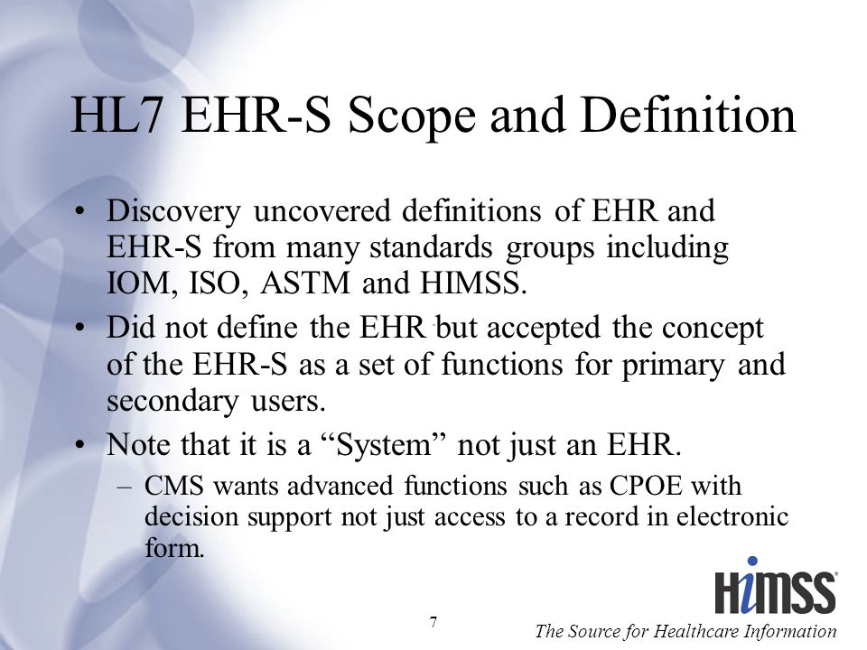 HL7 EHR-S Scope and Definition