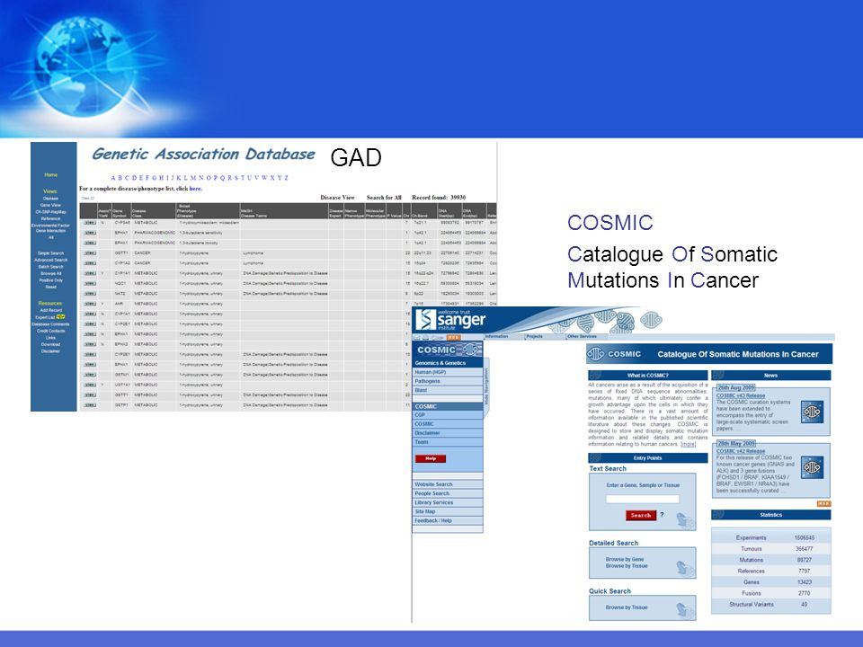 GAD COSMIC Catalogue Of Somatic Mutations In Cancer