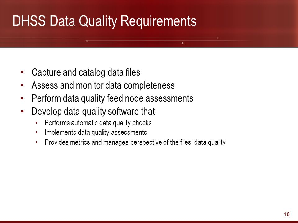 DHSS Data Quality Requirements