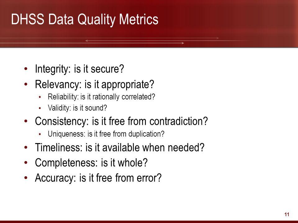 DHSS Data Quality Metrics