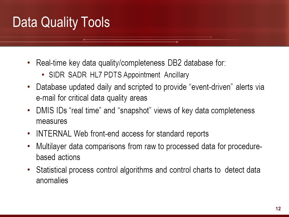 Data Quality Tools Real-time key data quality/completeness DB2 database for: SIDR SADR HL7 PDTS Appointment Ancillary.