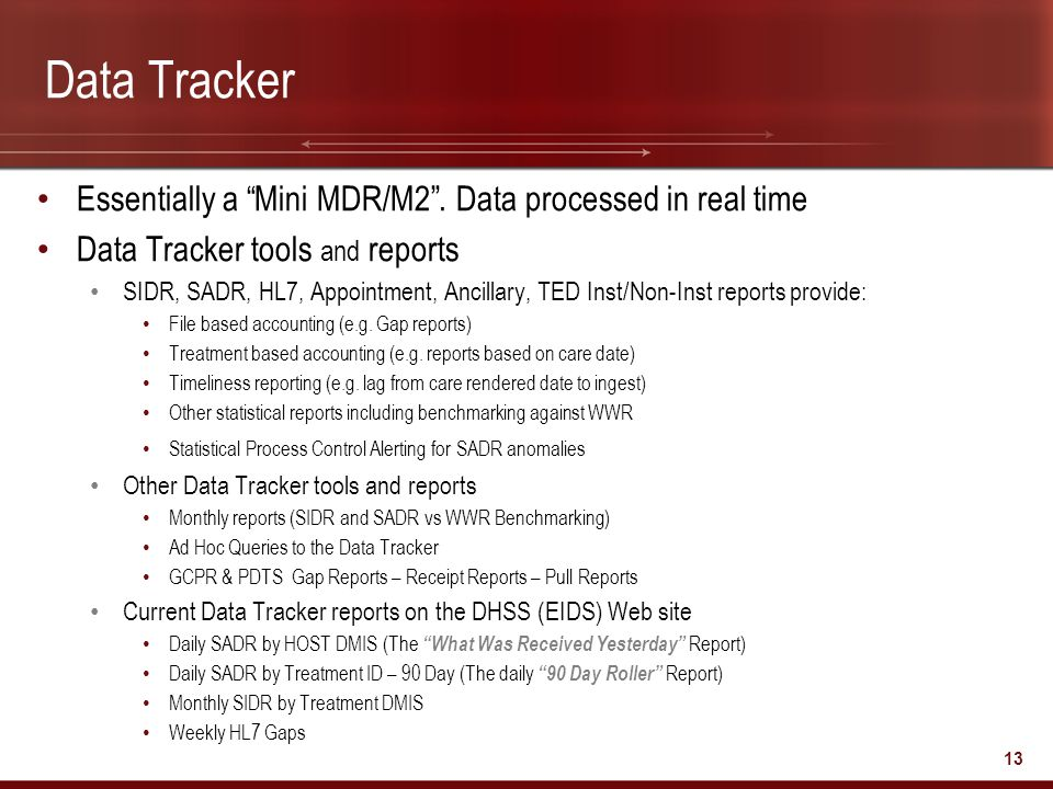 Data Tracker Essentially a Mini MDR/M2 . Data processed in real time