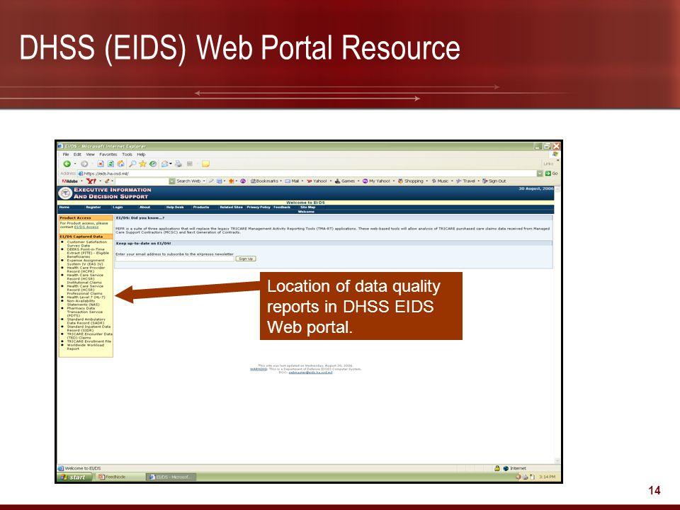 DHSS (EIDS) Web Portal Resource