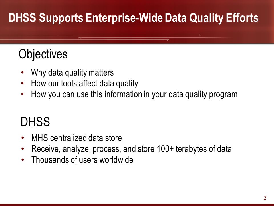 Objectives DHSS DHSS Supports Enterprise-Wide Data Quality Efforts