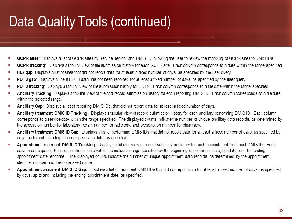 Data Quality Tools (continued)