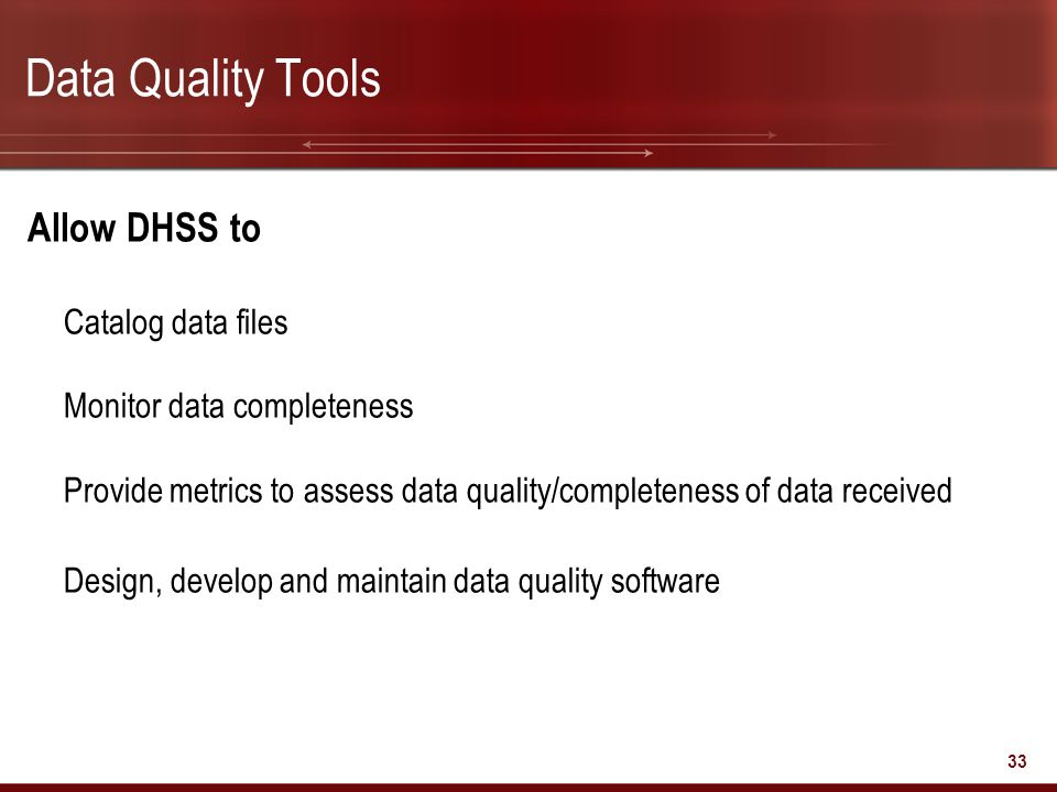 Data Quality Tools Allow DHSS to Catalog data files