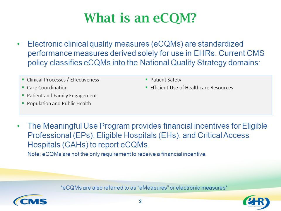 *eCQMs are also referred to as eMeasures or electronic measures*