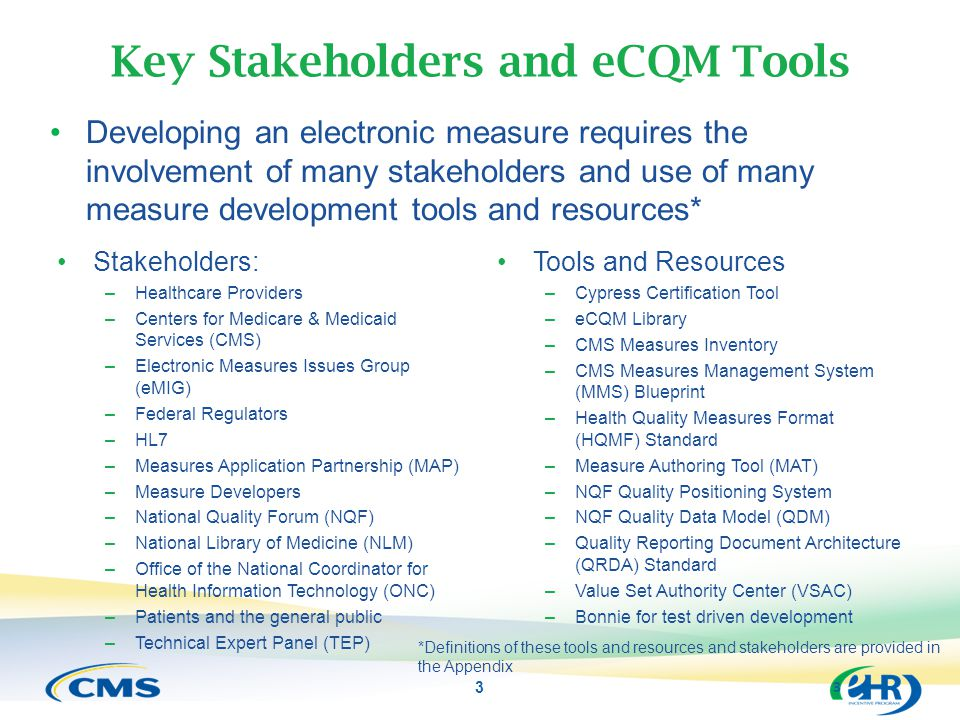 Key Stakeholders and eCQM Tools