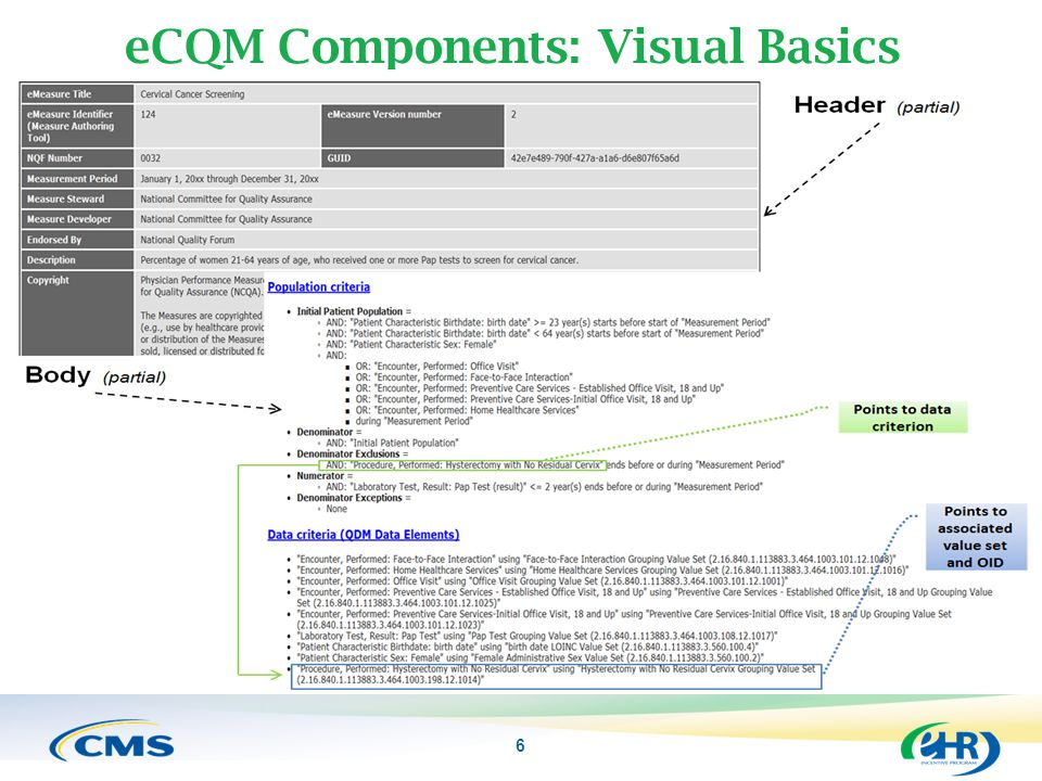 eCQM Components: Visual Basics