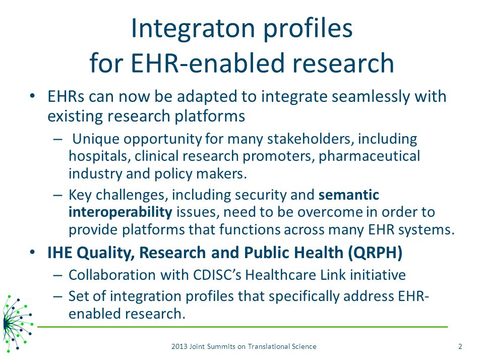 Integraton profiles for EHR-enabled research