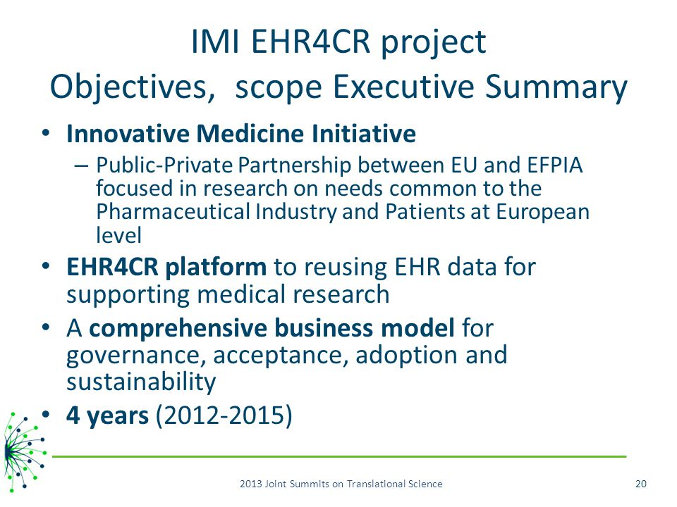 IMI EHR4CR project Objectives, scope Executive Summary