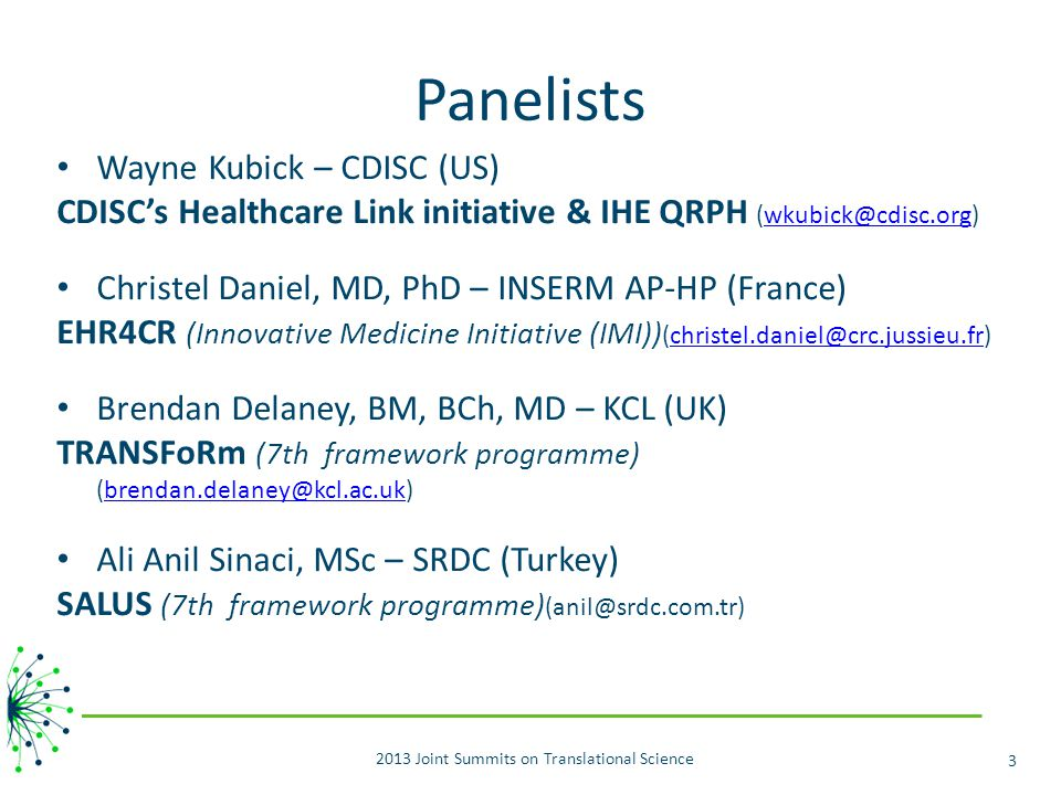 2013 Joint Summits on Translational Science