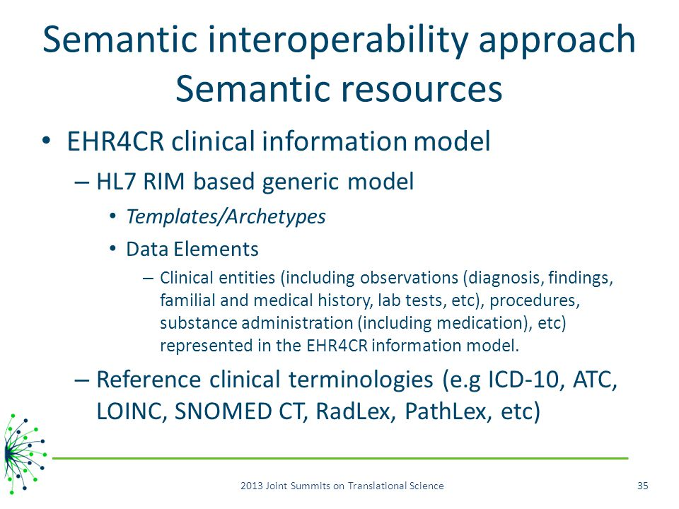 Semantic interoperability approach Semantic resources