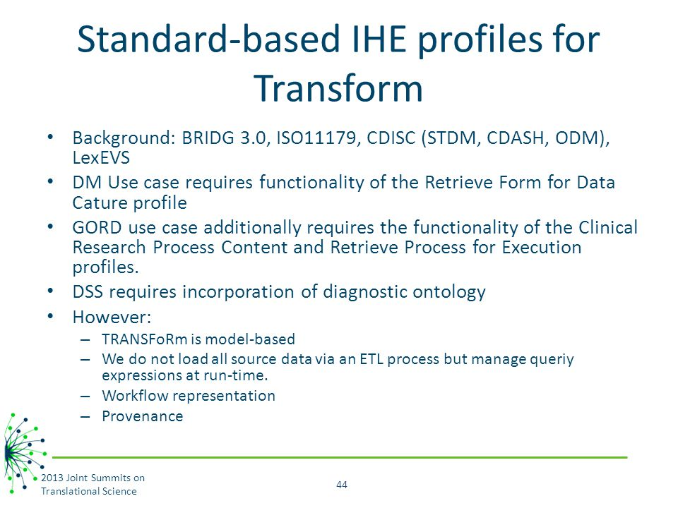 Standard-based IHE profiles for Transform