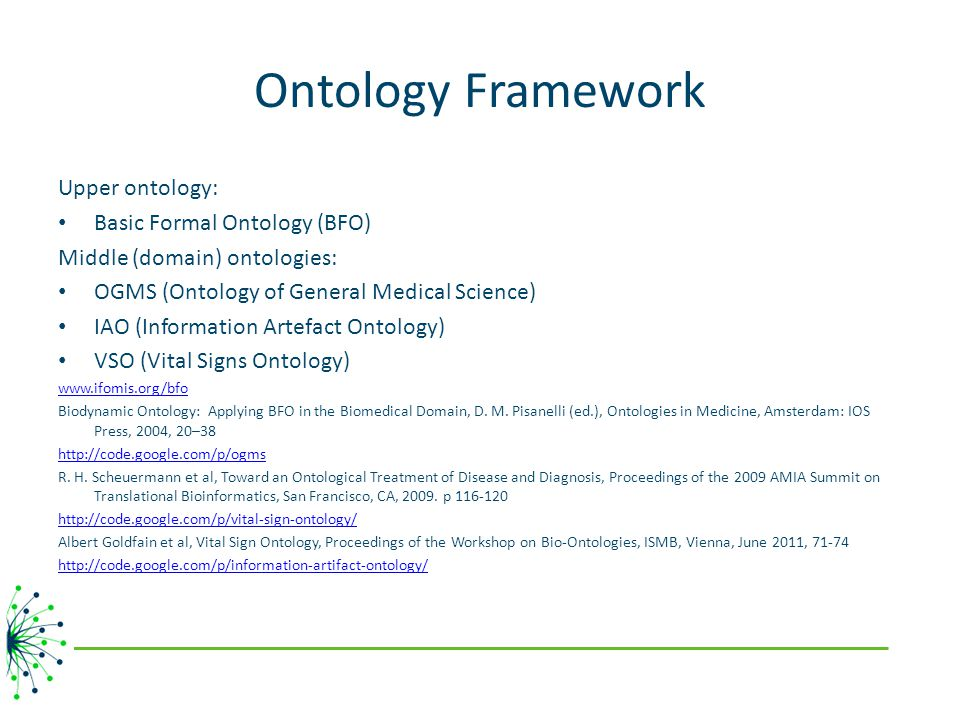 Ontology Framework Upper ontology: Basic Formal Ontology (BFO)