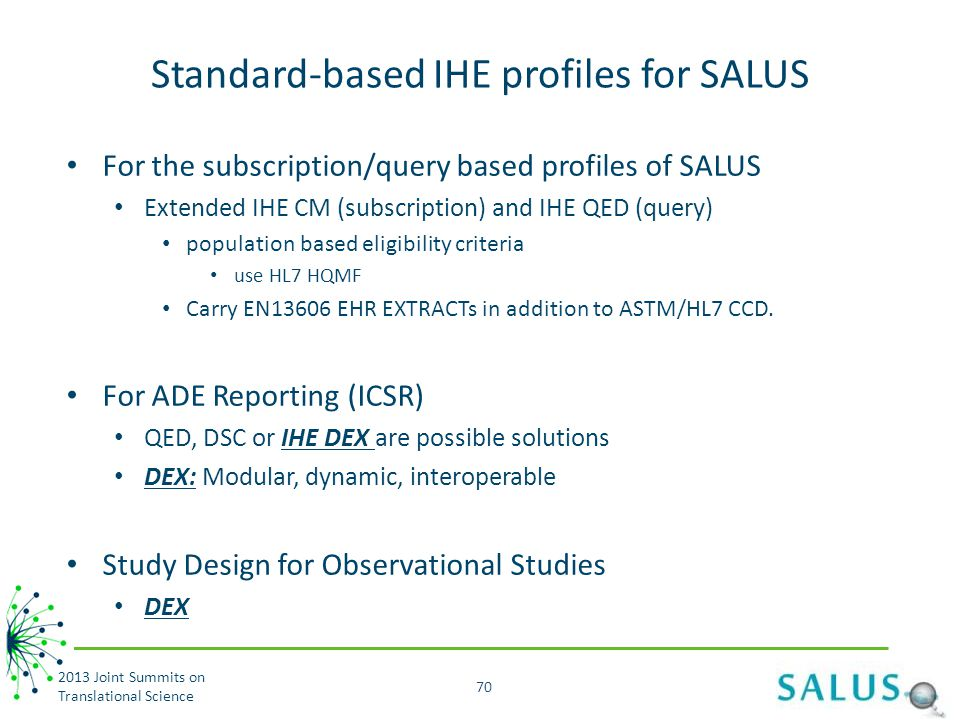 Standard-based IHE profiles for SALUS