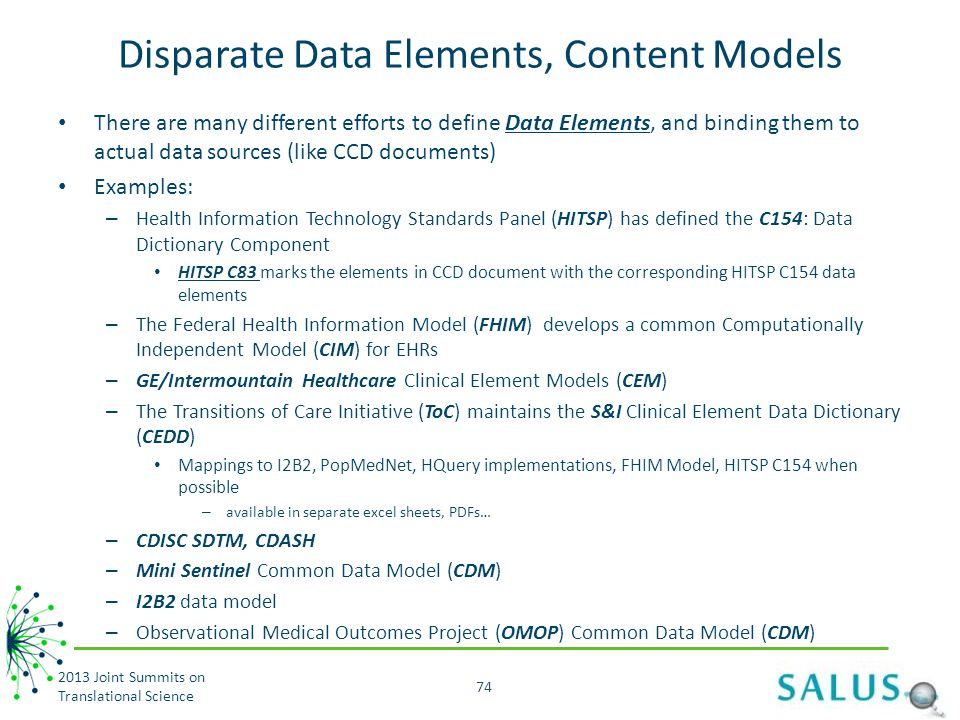Disparate Data Elements, Content Models