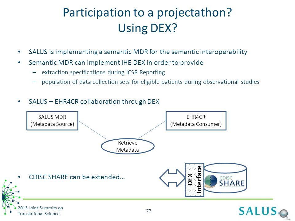 Participation to a projectathon Using DEX