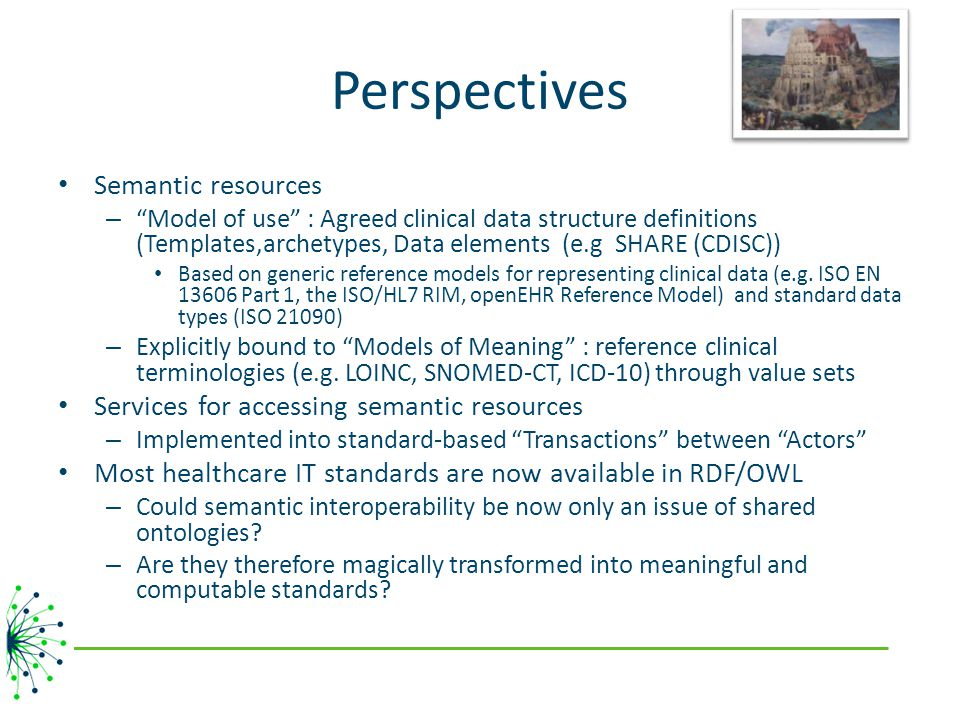 Perspectives Semantic resources