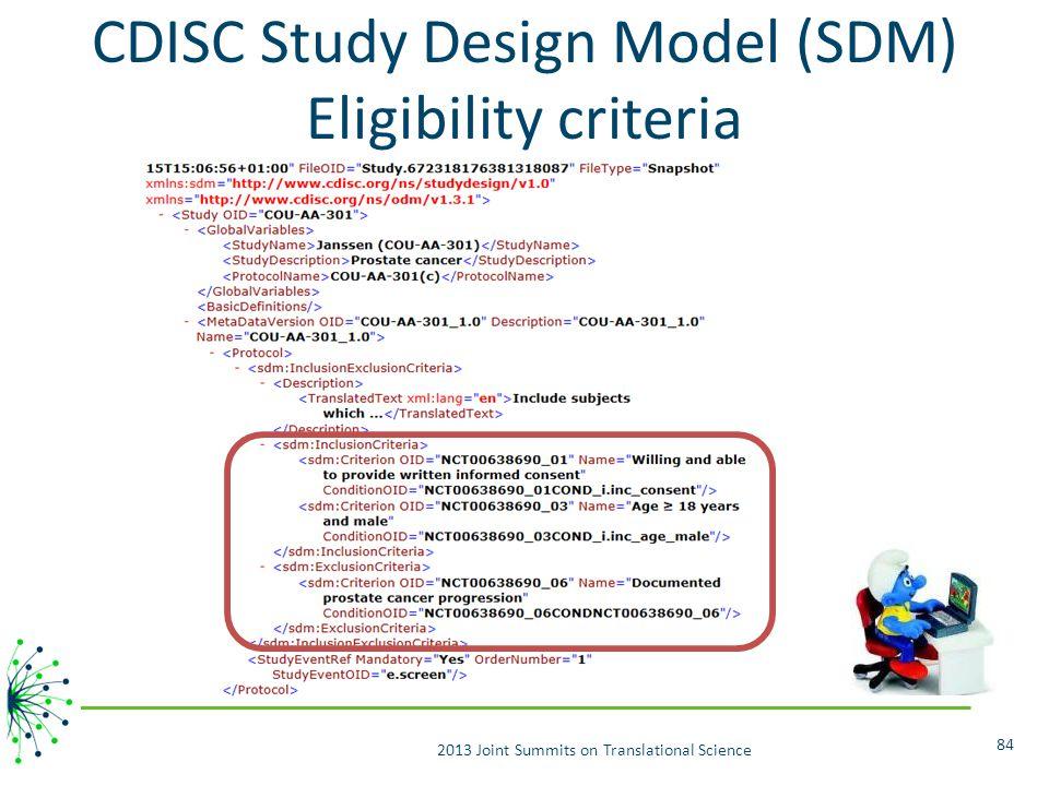 CDISC Study Design Model (SDM) Eligibility criteria