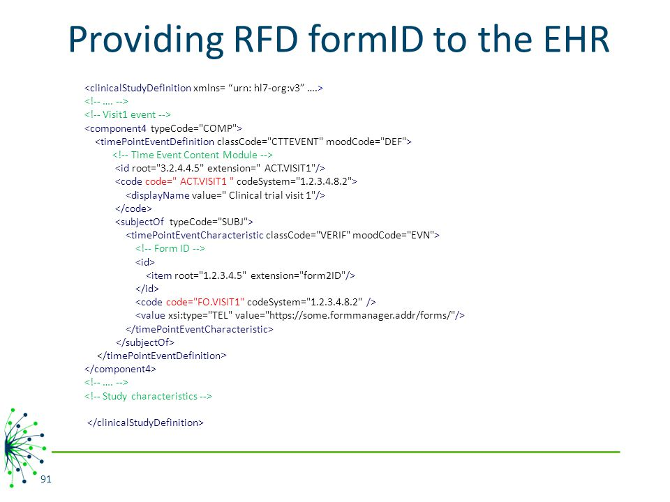 Providing RFD formID to the EHR