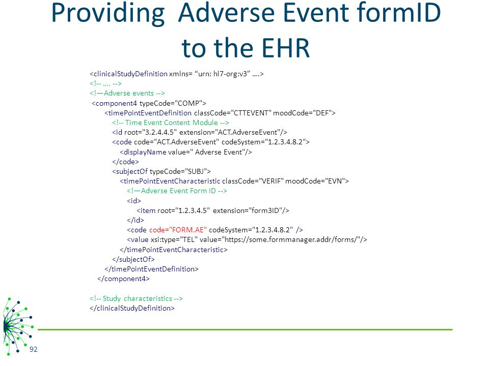Providing Adverse Event formID to the EHR